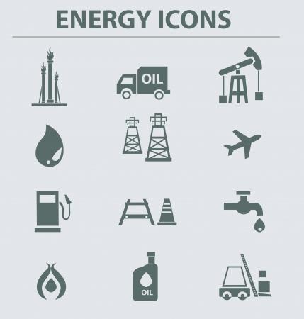 refinaria: Ícones de gás de petróleo, vector