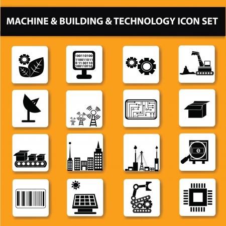 ingenieria industrial: Electr�nica, Technol g�a icon set, vector Vectores