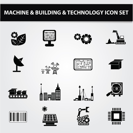 ingenieria industrial: Electr�nica, Technol g�a icon set, vector Vectores