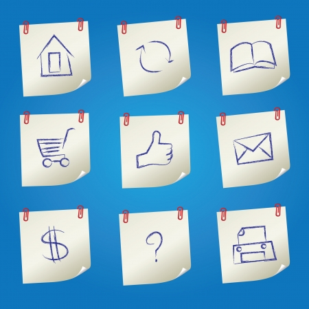 Post it,Web icon set,Vector  Vector