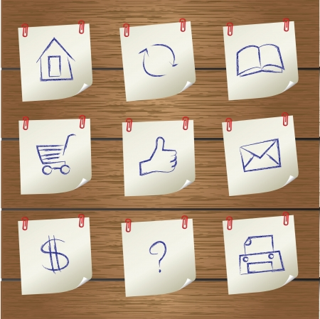 Post it,Web icon set,Vector  Vector
