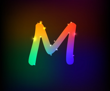 Alphabet light,Letter M,Vector Vector