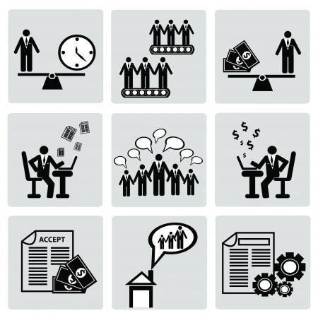 profesiones: Gesti�n empresarial y de recursos humanos, ORGANIZACI�N, icon set, vector Vectores