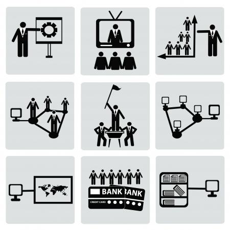 corporate hierarchy: Gestione e Human Resource Icon set, vettore