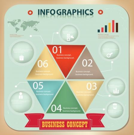 Business diagram, vintage, vector Vector Illustratie