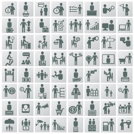 corporate hierarchy: Risorse umane e gestione icone vettoriali set,