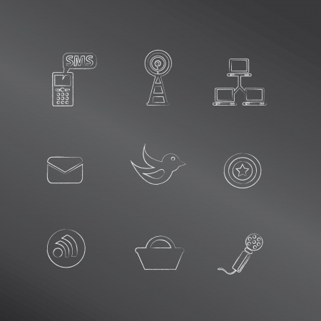 signal strenght: Social media icons,vector