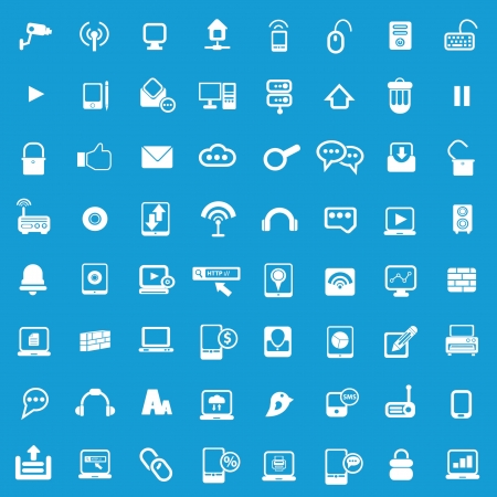 Web Universal icons For Web and communication on blue background  Illustration
