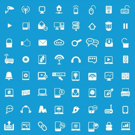 universal icons: Web Universal icons For Web and communication on blue background  Illustration