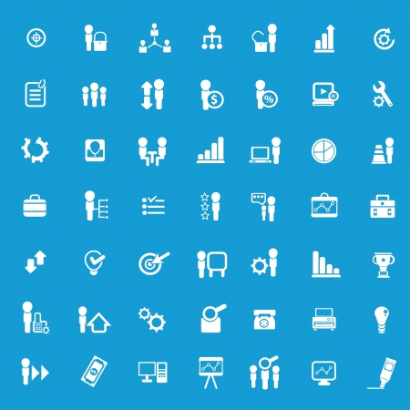 Business,company resource icons on blue background Stock Vector - 18780689