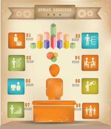 old people: Human resource graphics design,vintage Illustration