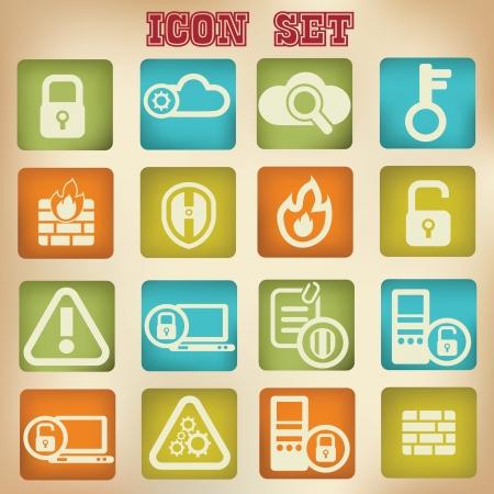 computer help: Security icon set,vintage style Illustration