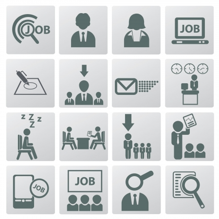 job recruitment: Job and business man icons