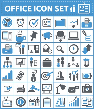 Office and human resource icon set  Illustration