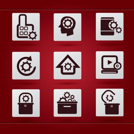 Gears icon set Stock Vector - 18780691