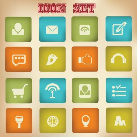 Social network,icon set Stock Vector - 18781560