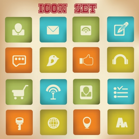 Social network,icon set Stock Vector - 18781560