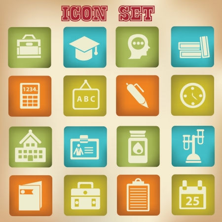 Education icons,vintage style Vector