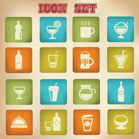 drink can: Drink sign,cups icon set,vintage style Illustration