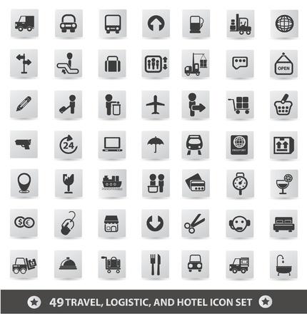 dormir habitaci�n: Travel, log�stico y el hotel conjunto de iconos, vector