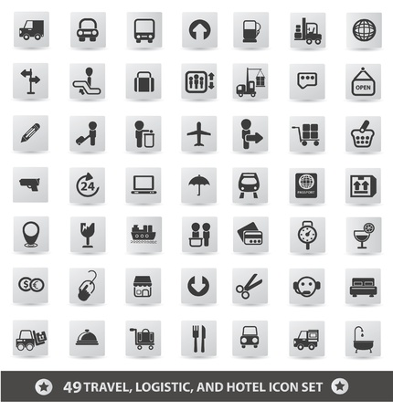 reception hotel: Travel, logistic and hotel icon set,vector