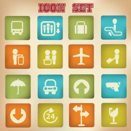Travel icons,vintage style,vector  Vector