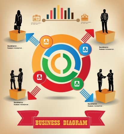 active arrow: Diagram charts,business concept,human resource Illustration