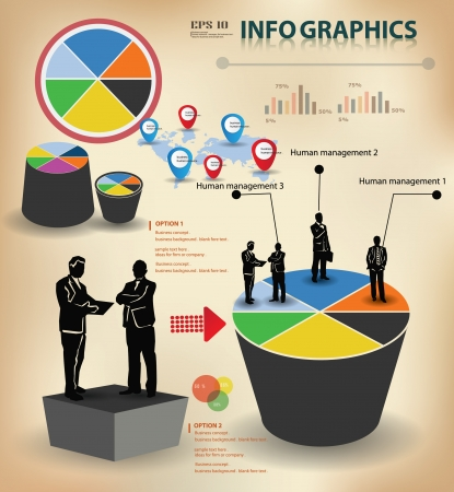 Graph and business peoples, information graphics  Vector