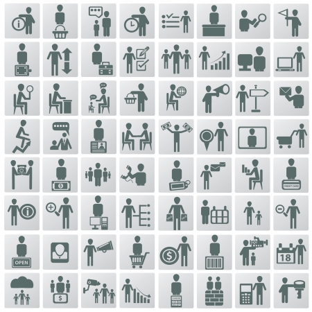 Human resources and management icons set Stock Vector - 19304077