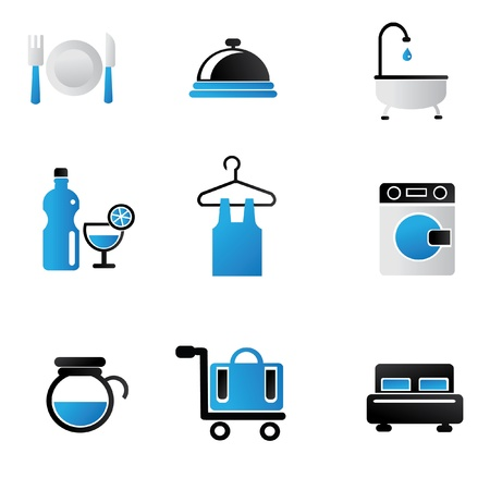 showers: Hotel icon set
