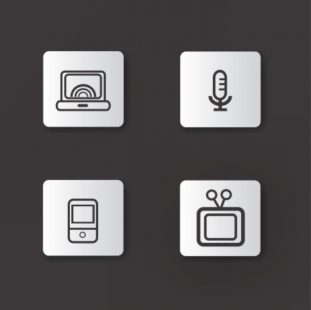 Standard Media 4 icon set,Line Vector