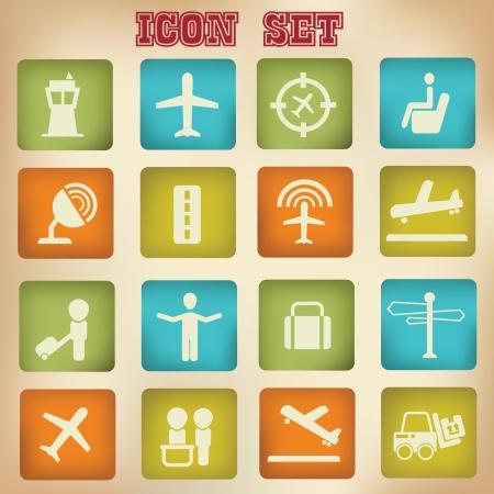 sattelite: Airplane sign,icons,vintage style