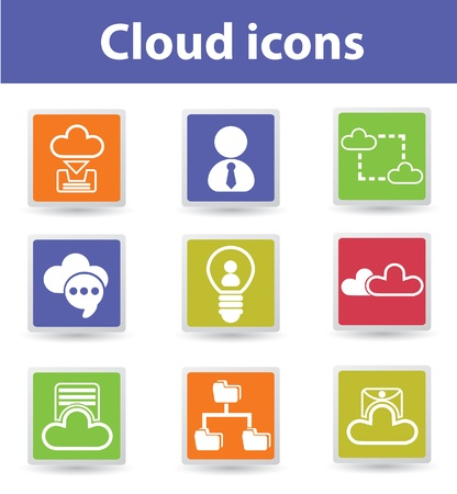 Cloud computing,connection,icons Stock Vector - 19207945