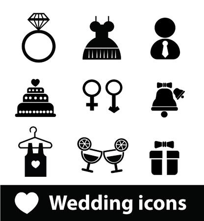 Icônes de mariage Vecteurs