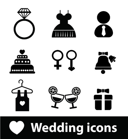rose ring: Wedding icons Illustration