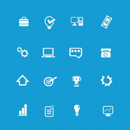 nota: Web icon set on blue background