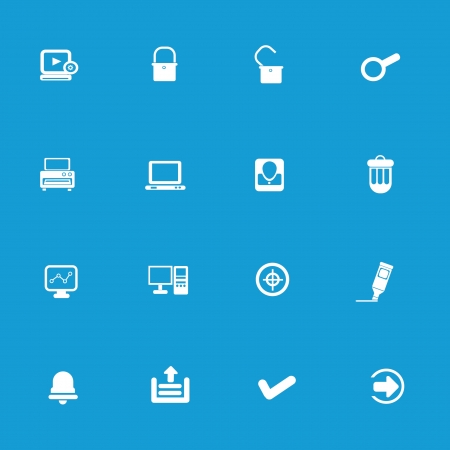 Web icon set on blue background Vector