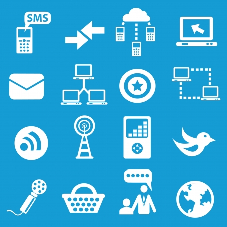 Social network icons on blue background Vector