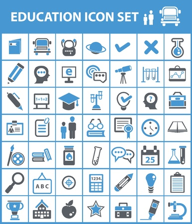 computer education: Education icon set Illustration