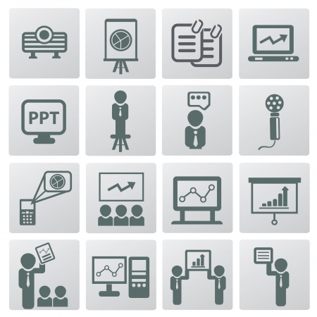 Presentation and business man icons Vector