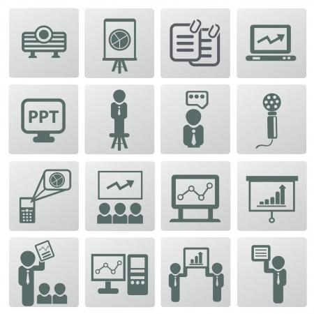rewarding: Presentation and business man icons