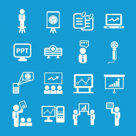 Presentation and business man icons Stock Vector - 19207892