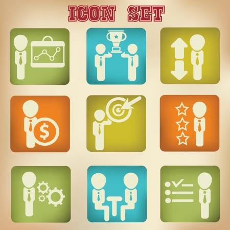 Human resource,organization,management icon set,vintage style Stock Vector - 19208196