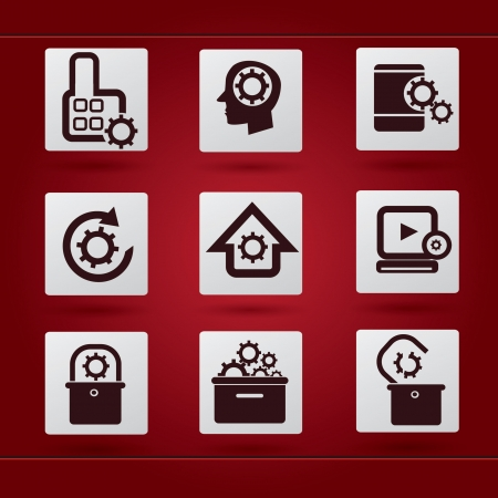 Gears icon set Stock Vector - 19207988