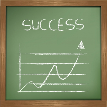 financial obstacle: Success drawing sign on blackboard background,vector  Illustration