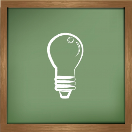scriibble: Lightbulb drawing on blackboard background,vector  Illustration
