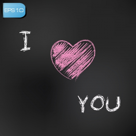 captivated: I love you drawing on blackboard background,vector