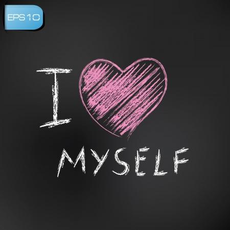 find similar images I love myself drawing on blackboard background,vector  Vector