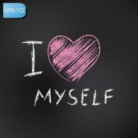 captivated:  find similar images I love myself drawing on blackboard background,vector