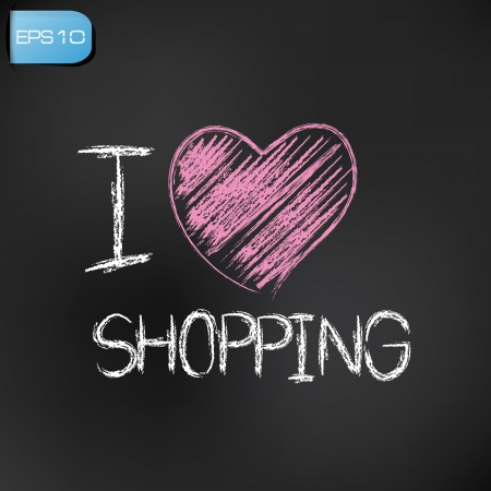I love shopping drawing on blackboard background,vector  Vector